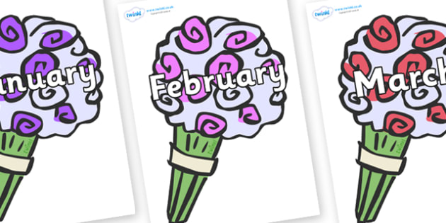 Months of the Year on Bouquets - Months of the Year, Months poster, Months display, display, poster, frieze, Months, month, January, February, March, April, May, June, July, August, September