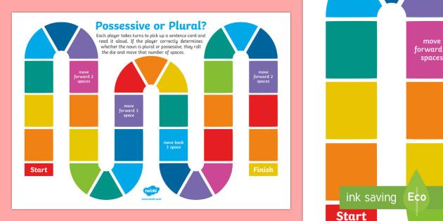 Possessive and Plural Noun Game - possessive, plural, possessive and plural, plural or possessive, plurals board game, possessive board game, s words