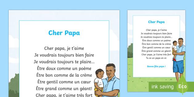 Poème Cher Papa La Fête Des Pères La Fête Des Pères