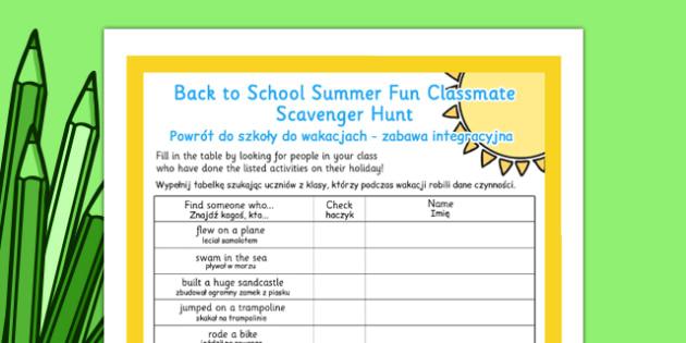 Back to School Summer Fun Classmate Scavenger Hunt Polish Translation