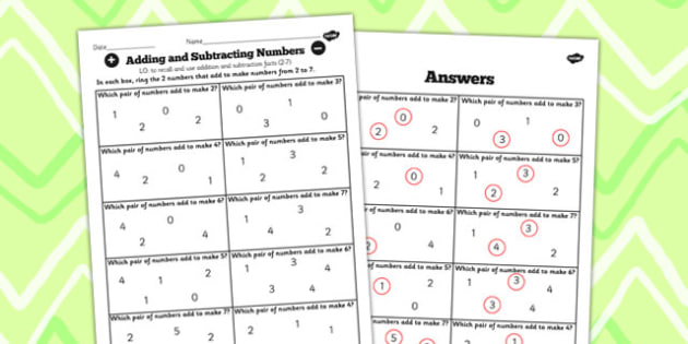 Number Facts Finding Pairs Worksheet 2-7 - number, facts, pairs