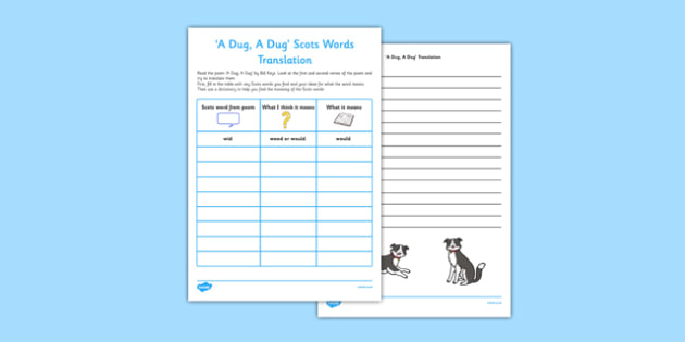 A Dug A Dug Scots Words Translation Activity Sheet - cfe, a dug a dug, scots, scottish, words, translation, activity, sheet, worksheet