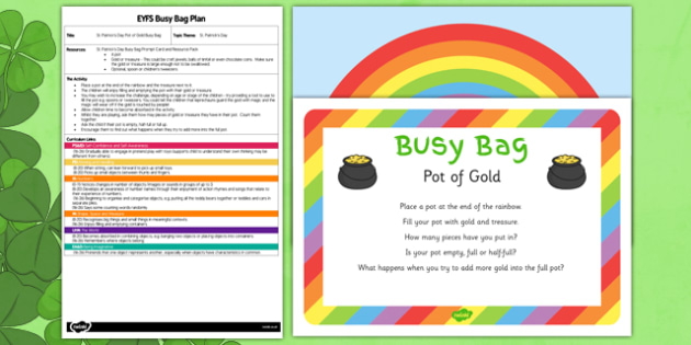 St Patrick's Day Pot of Gold EYFS Busy Bag Plan and Resource - St Patrick's Day, gold, rainbow, EYFS plan