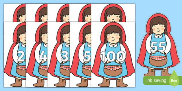 Numbers 0-100 on Little Red Riding Hood - 0-100, foundation stage numeracy, Number recognition, Number flashcards, counting, number frieze, Display numbers, number posters