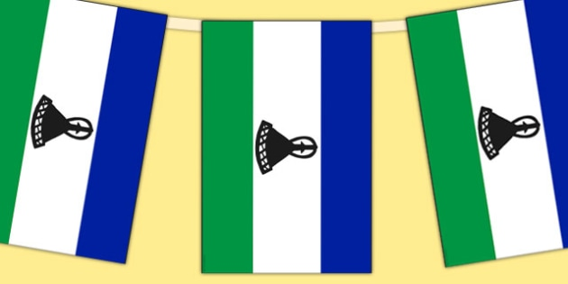 Lesotho Flag Display Bunting - countries, geography, flags
