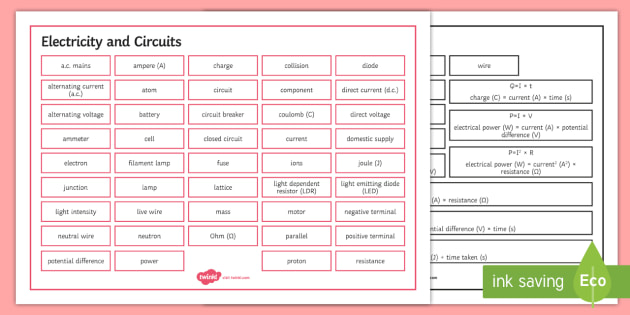 Edexcel Physics Electricity and Circuits Word Mat - Word Mat, edexcel, gcse, physics, electricity, electrical circuit, circuits, parallel, series, volta