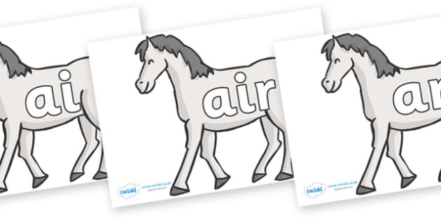Phase 3 Phonemes on Horses - Phonemes, phoneme, Phase 3, Phase three, Foundation, Literacy, Letters and Sounds, DfES, display