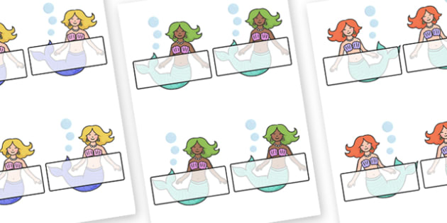 Editable Self-Registration Labels (Mermaids) - Sea, seaside, display, editable, label, topic, fantasy, sea, seaside, under the sea