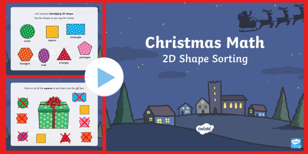 Christmas Math 2D Shape Sorting Interactive PowerPoint