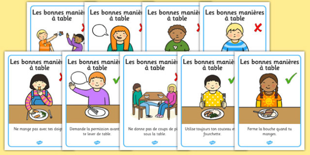 Table Manners Rules Display Posters French - french, Table Manners Rules Display Poster, table manners, manners, rules, display, poster, sign, good manners, good behaviour, behaviour, eating, food, lunch, table, break