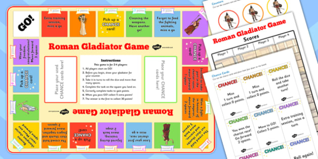 Roman Gladiator Board Game - roman, gladiator, board game, game