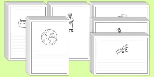 Noah's Ark Writing Frames - noahs ark, writing frames, writing, frames, christianity, story