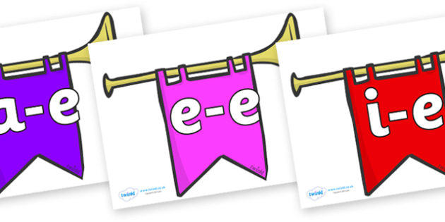 Modifying E Letters on Banners - Modifying E, letters, modify, Phase 5, Phase five, alternative spellings for phonemes, DfES letters and Sounds