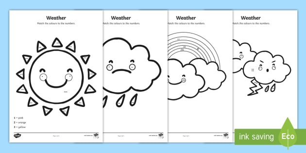 weather colour by number counting worksheet activity sheet. Black Bedroom Furniture Sets. Home Design Ideas