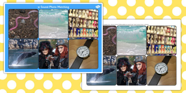 Initial w Sound Photo Matching Board and Cards - initial w, sound