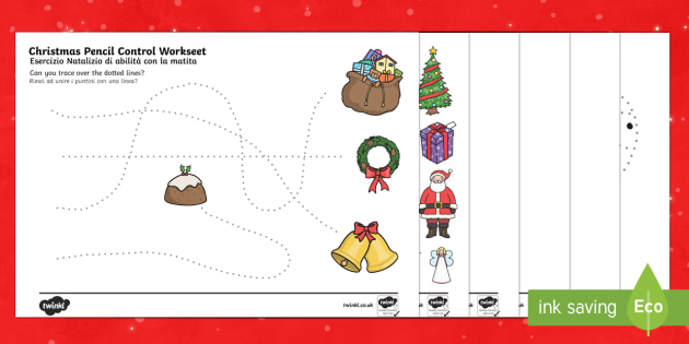 Christmas Pencil Control Sheets English/Italian - Christmas Pencil Control Sheets - christmas, pencil control, sheets, pencil, control,pencilcontrol,c