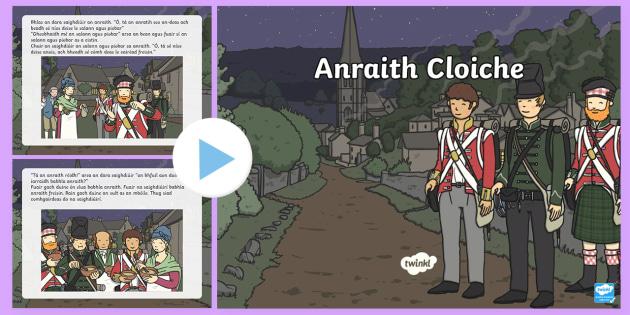 Stone Soup PowerPoint Gaeilge - Stone Soup Anraith Cloiche, saighdiúirí, anraith, sráidbhaile, bia, plean, finscéal, glasraí, f