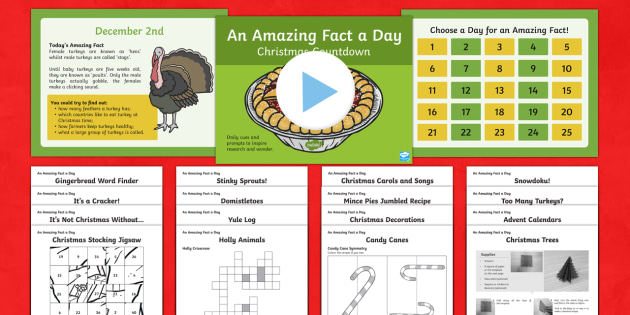 Amazing Fact a Day KS2 Countdown to Christmas Activity Pack - Amazing Fact Of The Day, activity sheets, powerpoint, starter, morning activity, December,Australia