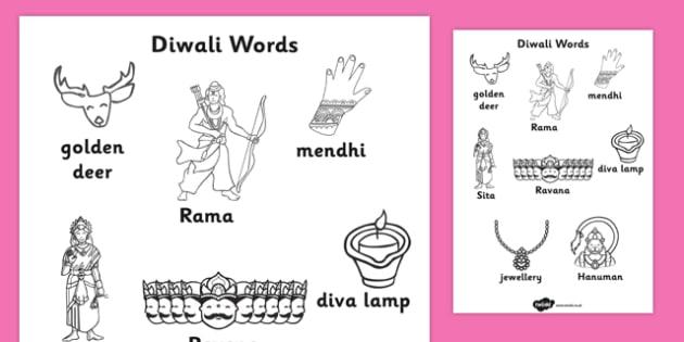 Diwali Words Colouring Worksheet - colour, fine motor skills