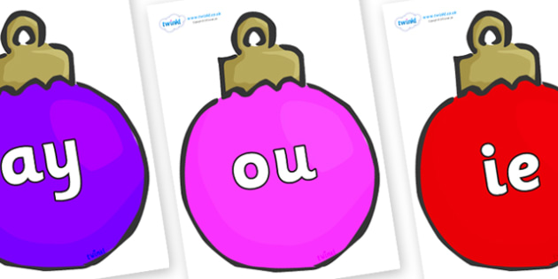 Phase 5 Phonemes on Plain Baubles (Multicolour) - Phonemes, phoneme, Phase 5, Phase five, Foundation, Literacy, Letters and Sounds, DfES, display