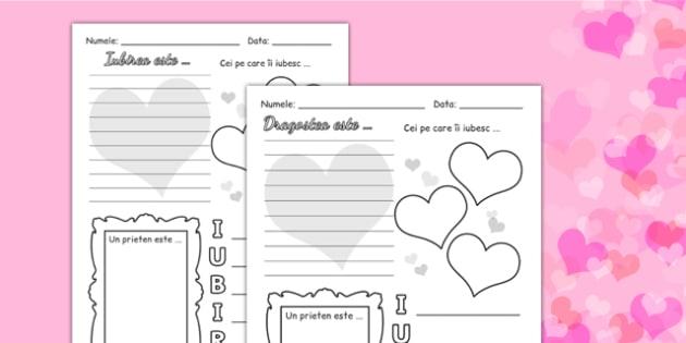 Ziua îndrăgostiților - Fișă scriere - ziua îndrăgostiților, Valentine's Day, fișă scriere, colorat, dăruit, materiale, materiale didactice, română, romana, material, material didactic