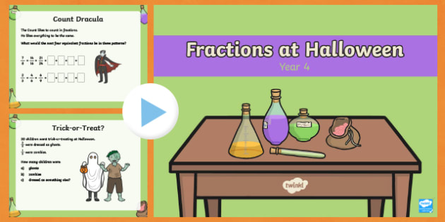 Year 4 Halloween Fractions PowerPoint