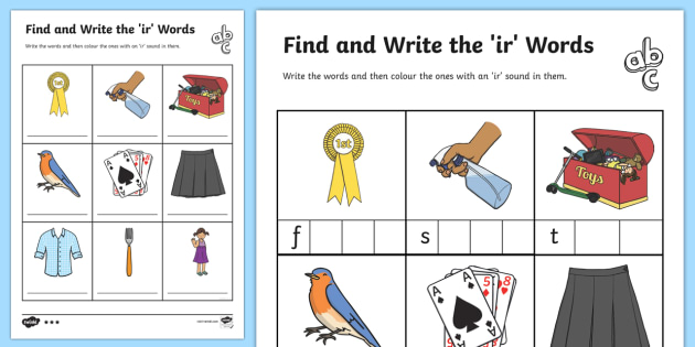Words With ir In Them Differentiated Worksheets