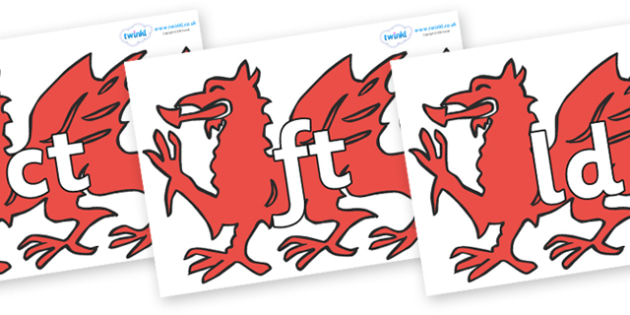 Final Letter Blends on Welsh Dragons - Final Letters, final letter, letter blend, letter blends, consonant, consonants, digraph, trigraph, literacy, alphabet, letters, foundation stage literacy