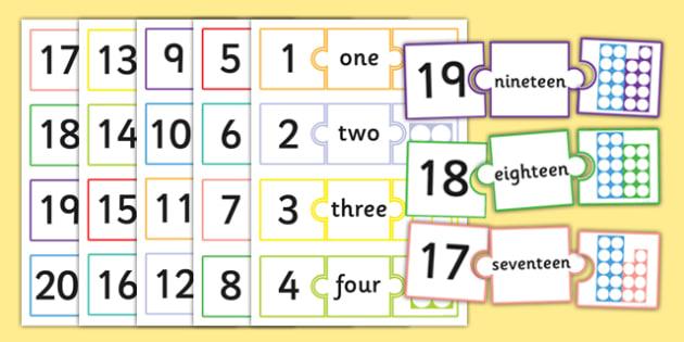 Number Jigsaws 1-20 - number jigsaws, number, jigsaws, 1-20, numeracy
