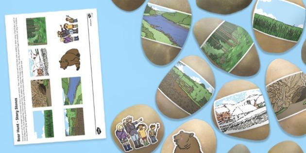 Bear Hunt Story Stone Image Cut Outs - bear hunt, story stone, image, cut outs