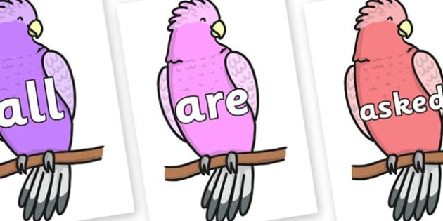 Tricky Words on Galah - Tricky words, DfES Letters and Sounds, Letters and sounds, display, words