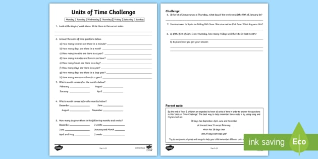 units of time challenge worksheet worksheet time year 3 measurement. Black Bedroom Furniture Sets. Home Design Ideas
