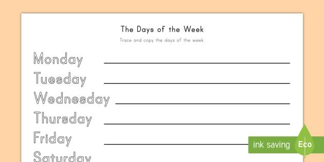 days of the week writing worksheet. Black Bedroom Furniture Sets. Home Design Ideas