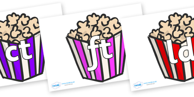 Final Letter Blends on Popcorn - Final Letters, final letter, letter blend, letter blends, consonant, consonants, digraph, trigraph, literacy, alphabet, letters, foundation stage literacy