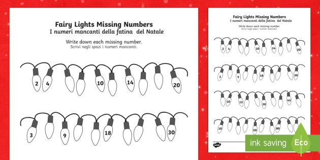 Christmas Fairy Light Missing Numbers Counting in 2s 3s 5s 10s Worksheet / Activity Sheet English/Italian - Christmas Fairy Light Missing Numbers Counting in 2s, 3s, 5s and 10s Worksheet / Activity Sheet - christmas, fai