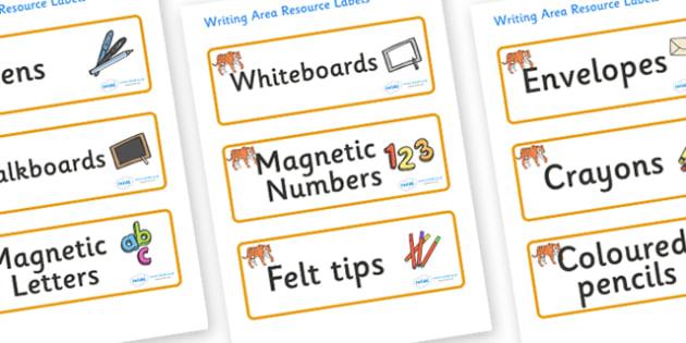 Tiger Themed Editable Writing Area Resource Labels - Themed writing resource labels, literacy area labels, writing area resources, Label template, Resource Label, Name Labels, Editable Labels, Drawer Labels, KS1 Labels, Foundation Labels, Foundation