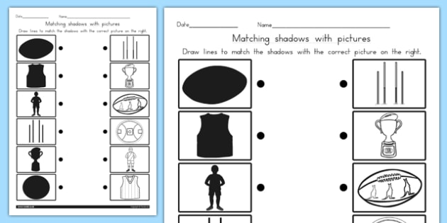 AFL Australian Football League Football Shadow Matching Worksheet