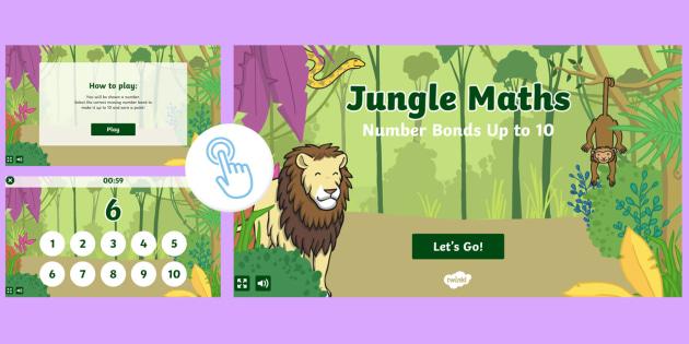 KS1 Jungle Maths: Number Bonds to 10 Game