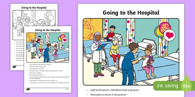 The Hospital Oral Language Activity Sheet-Irish, worksheet