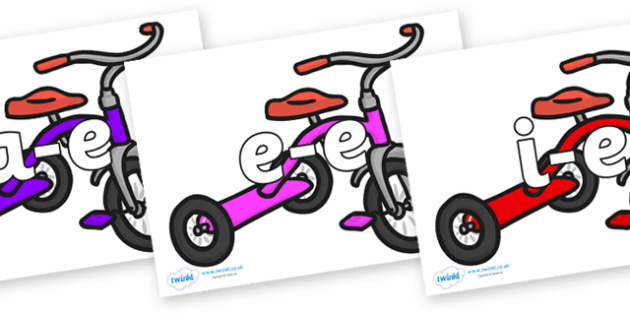 Modifying E Letters on Trikes - Modifying E, letters, modify, Phase 5, Phase five, alternative spellings for phonemes, DfES letters and Sounds