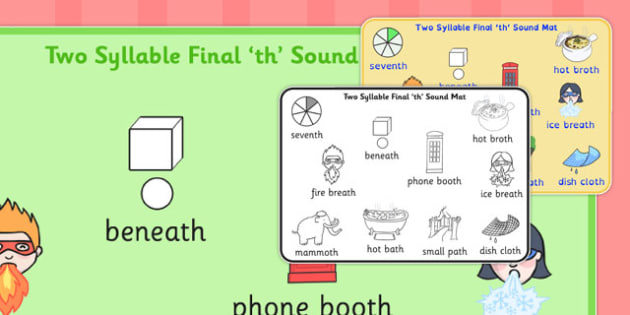 Two Syllable Final Voiceless 'th' Word Mat - th word mat, SLT