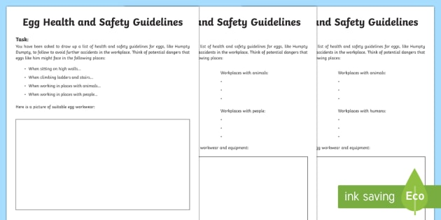 Humpty Dumpty Egg Health and Safety Writing Template - Humpty