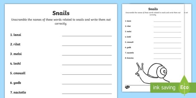 nails Word Scramble Worksheet / Worksheet - Snails, Shell