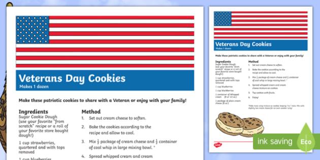 USA Veterans Day Cookie Treat Recipe