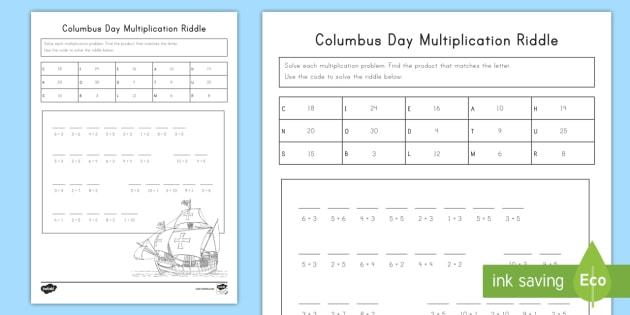 Columbus Day Multiplication Riddle Activity Sheet - Columbus Day, Christopher Columbus, Multiplication Riddle, Holiday, Columbus