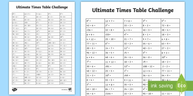 uks2 ultimate times tables challenge worksheet activity sheet. Black Bedroom Furniture Sets. Home Design Ideas