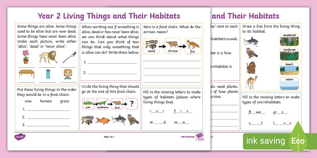 Ks1 Year 2 Living Things And Their Habitats Revision Activity Mat Using the question 'where do i live?', our lesson plan teaches children to recognise familiar places and to identify the types of buildings and land around this is essential for meeting the national curriculum guidelines for geography, which state that, by the time children have finished ks1, they should have. their habitats revision activity mat