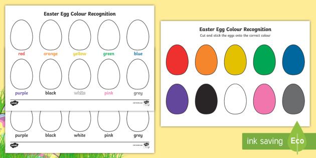 Easter Egg Colour Recognition Worksheet Activity Sheets