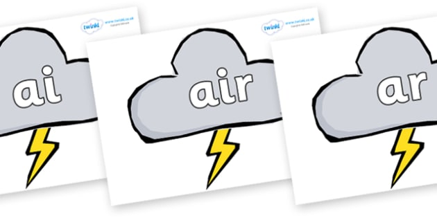 Phase 3 Phonemes on Weather Symbols (Stormy) - Phonemes, phoneme, Phase 3, Phase three, Foundation, Literacy, Letters and Sounds, DfES, display