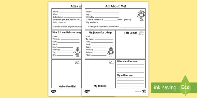 all about me worksheet worksheet english german all about me worksheet. Black Bedroom Furniture Sets. Home Design Ideas